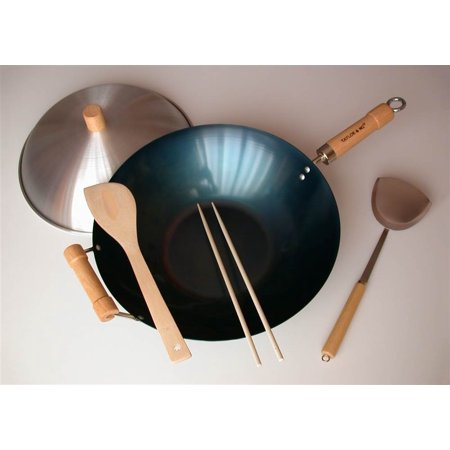 5 Pc 14 in. Preseasoned Flat Bottom Wok Set
