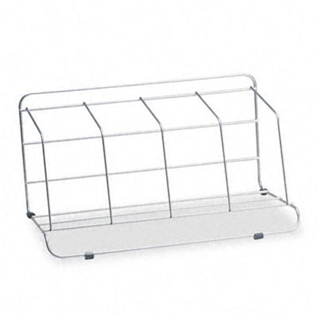 4 Section Wire Catalog Rack- Metal- 16 1 2 x 10 x 8- Silver by FinalFrame