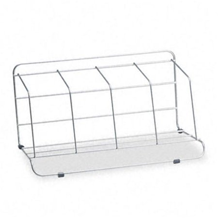 4 Section Wire Catalog Rack- Metal- 16 1/2 x 10 x 8- Silver