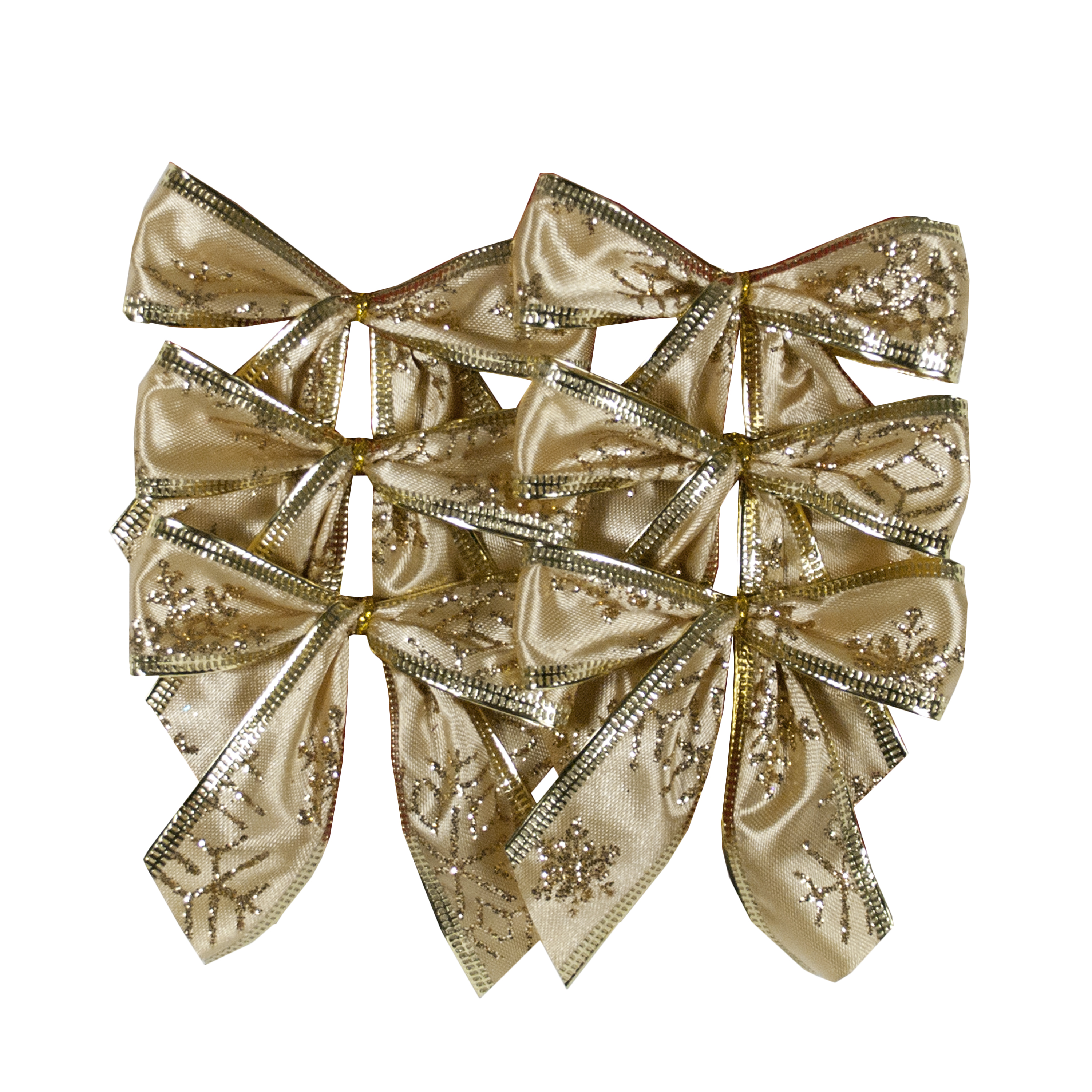 HOLIDAY TIME GOLD MINI BOWS, 6 COUNT
