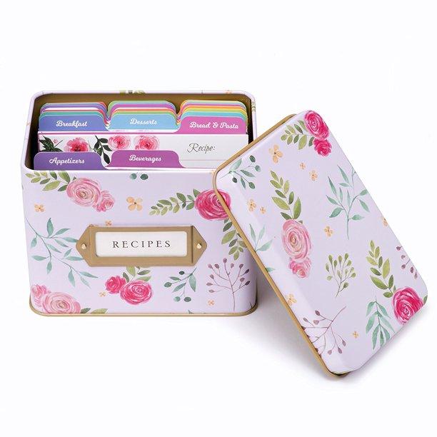 Decorative Tin Box Recipe Cards Index Dividers 14 Dividers 50 4x6 Inch Cards 1 Box Walmart Com Walmart Com