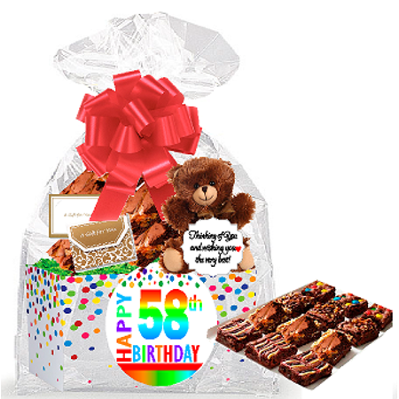 Gourmet Cookies And Brownies - 58th Birthday / Anniversary Gourmet Food Gift Basket Chocolate Brownie Variety Gift Pack Box (Individually Wrapped) 12pack