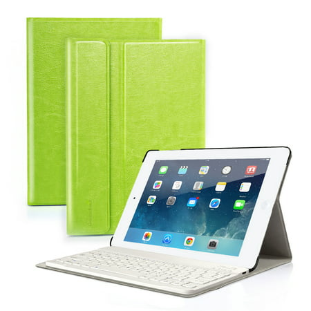 Wireless Bluetooth Keyboard with case cover PU Leather for iPad air 1 New Apple iPad 2017(9.7inch) Rechargeable  USB Cable Removeable Keyboard PU Leather ()