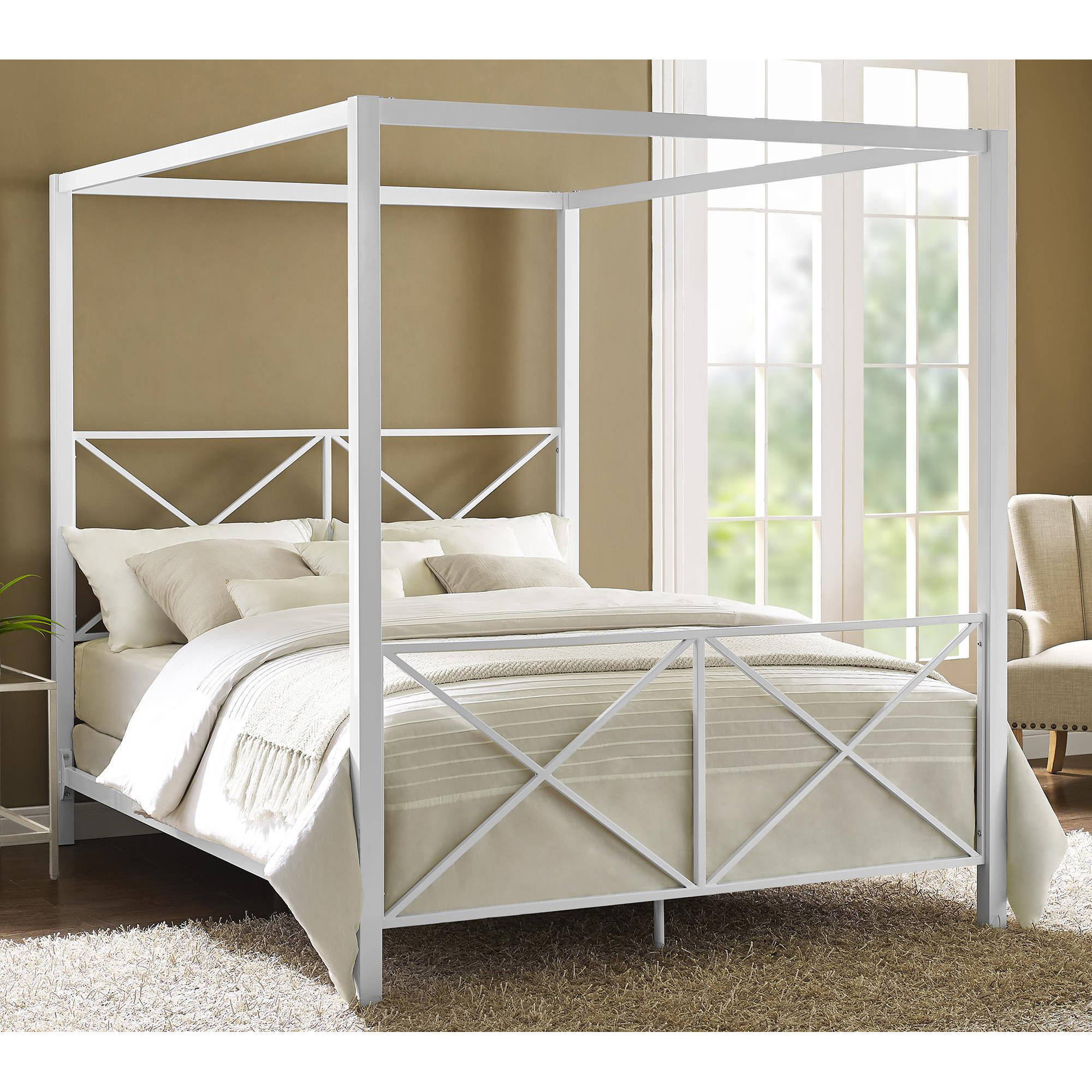 DHP Rosedale Metal Canopy Bed Frame, Queen Size, Multiple Colors