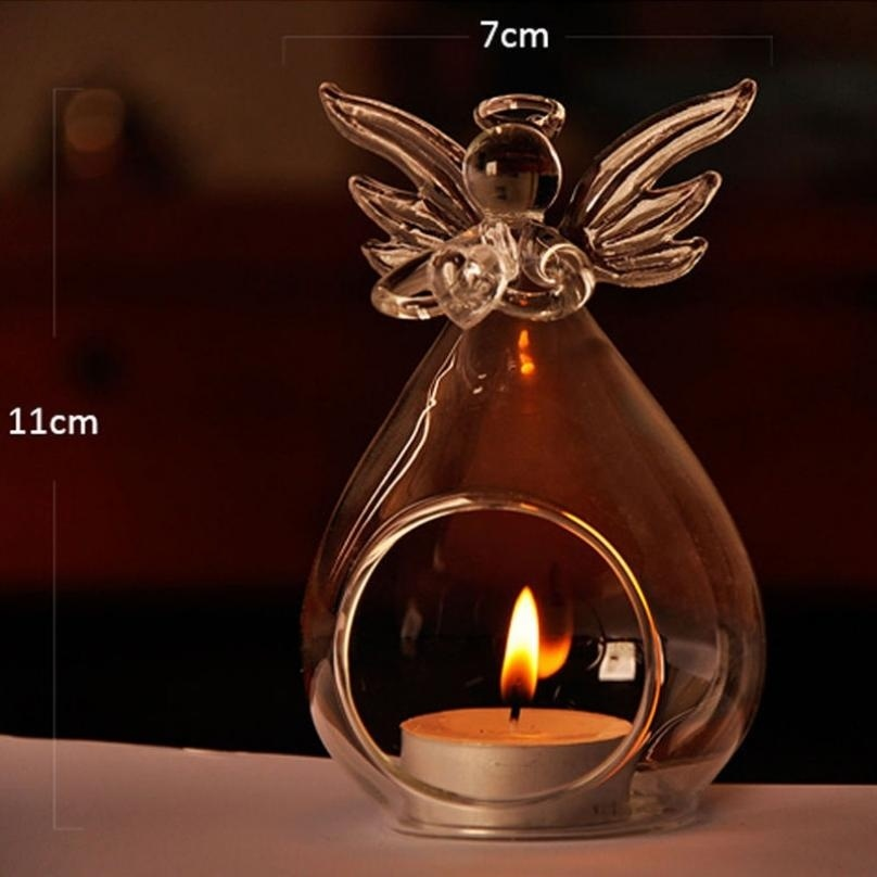 Glass Candle Holder Candlestick Hanging Angel Tealight Decor Party Wedding Decor