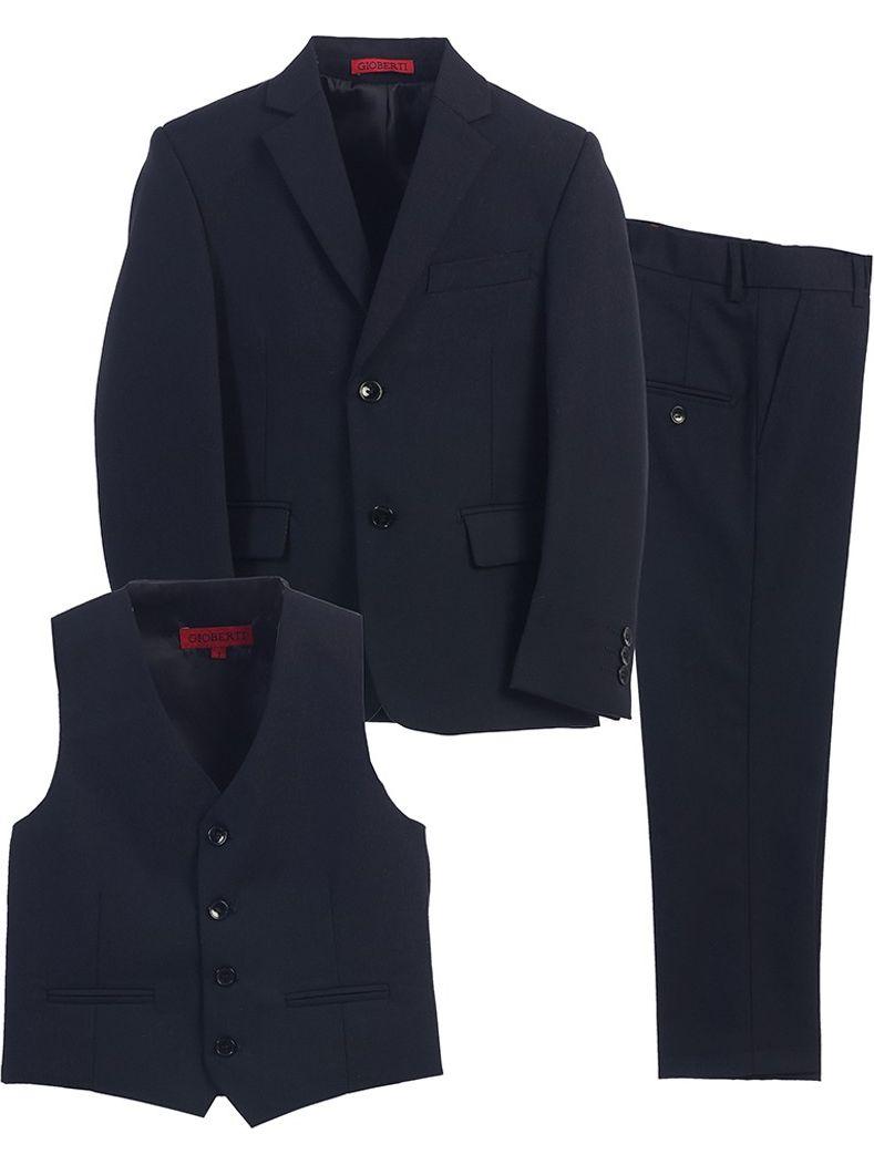 Boys Navy Vest Pants Jacket Special Occasion 3 Pcs Suit 8-16