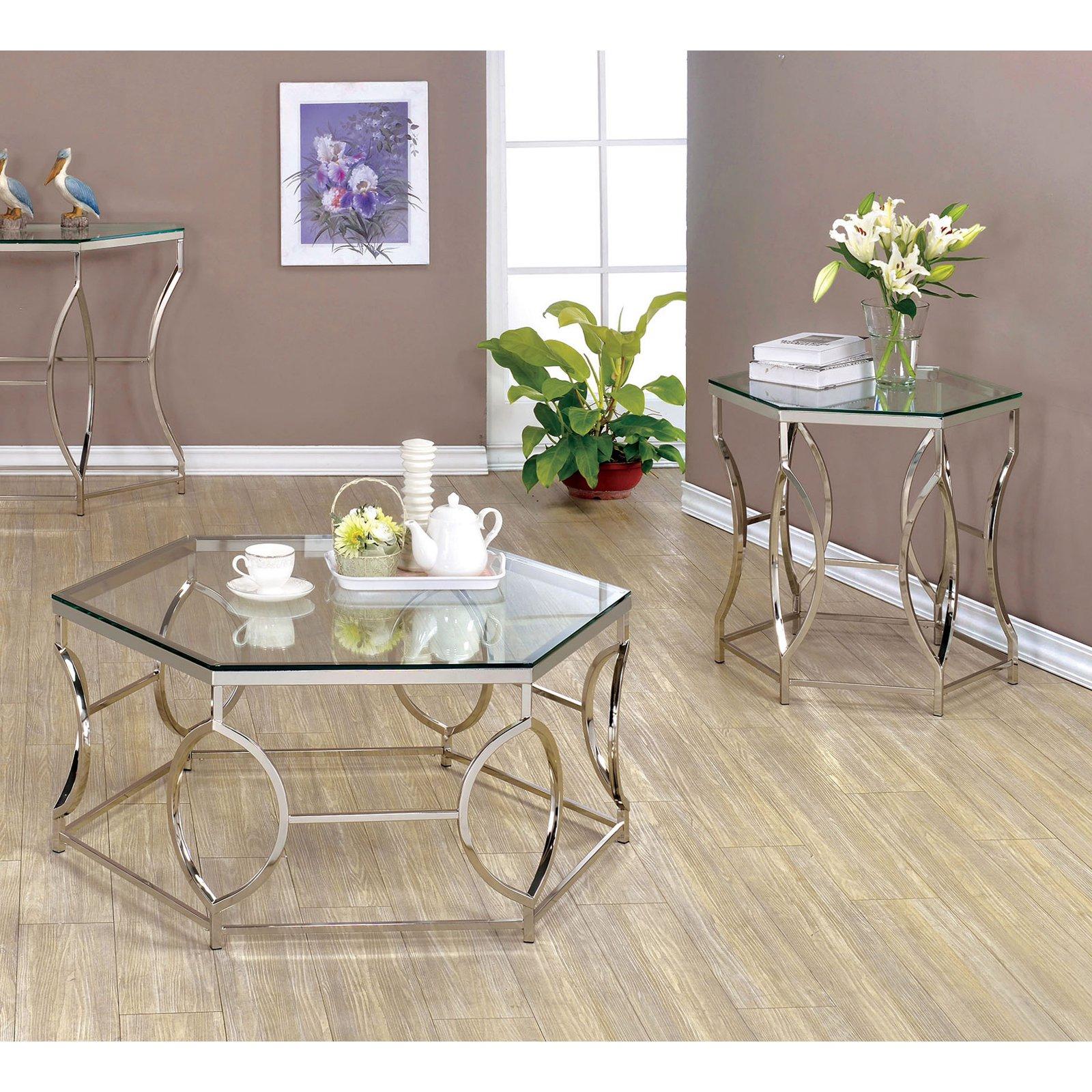 Furniture of America Remus Hexagonal 2 Piece Coffee Table Set