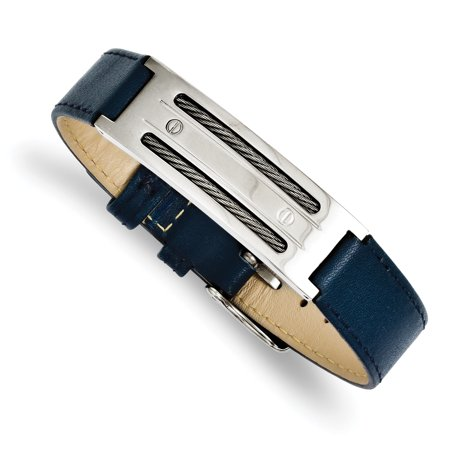 Stainless Steel Blue Leather with Wire Adjustable Buckle Bracelet 8.25in - image 2 de 2
