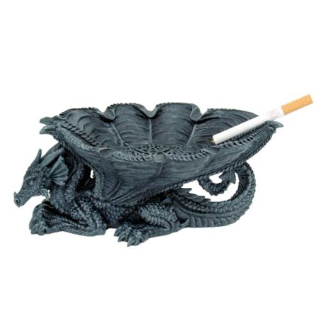 8.25 Inch Dragon Shaped Figurine Hand Painted Resin Ashtray, (Hand Painted Gravy)