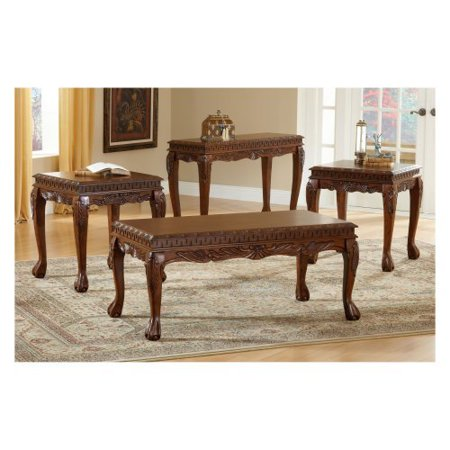 bernards deluxe cherry carved 3 piece coffee table set