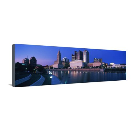 Skyscrapers at the waterfront, Scioto River, Columbus, Ohio, USA Stretched Canvas Print Wall Art - Halloween Usa Columbus Ohio