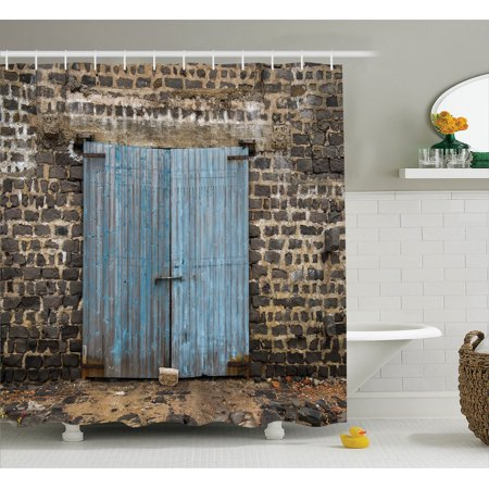 Rustic decor shower curtain set stone wall of dated for Stone coloured bathroom accessories