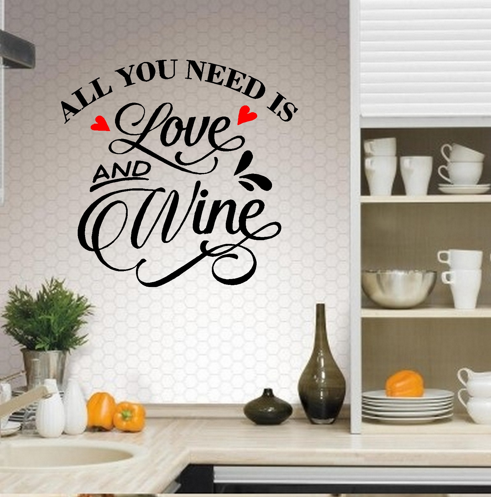 "Decal ~ Decal ~ All you need is Love and Wine: Kitchen Wall Decal 13"" x 13"" (Black/Red Hearts)"