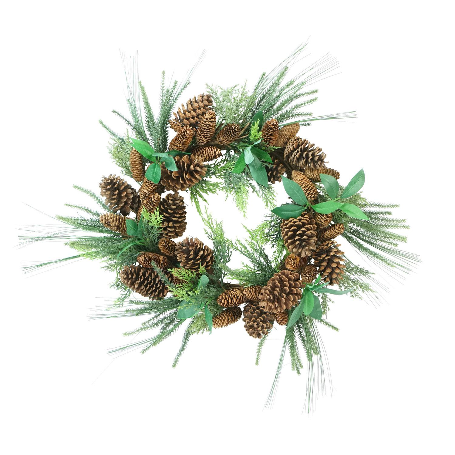 """Allstate 24"""" Unlit Mixed Pine with Pine Cones Artificial Christmas Wreath"""