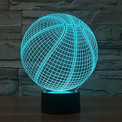 3d desk lamp basketball round shape gift acrylic night light led lighting furniture decorative colorful 7 color change household home accessories](Glowing Ball Night Light)