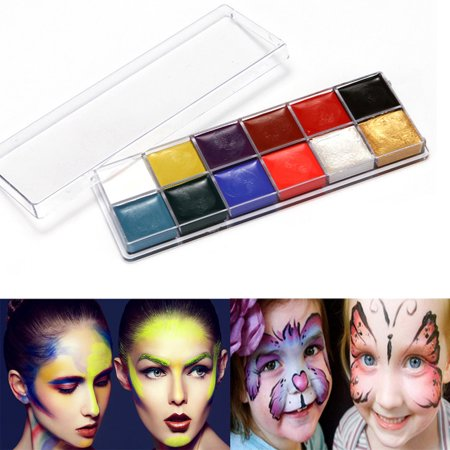 Half Face Paint Ideas For Halloween (12 Colors Face Body Paint Oil Painting Art Make Up Set Kit Halloween)