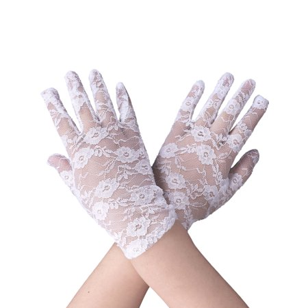 Stretch Bridal Gloves Lace Wrist Length Special Occasion Wear, White (Wholesale Lace Gloves)