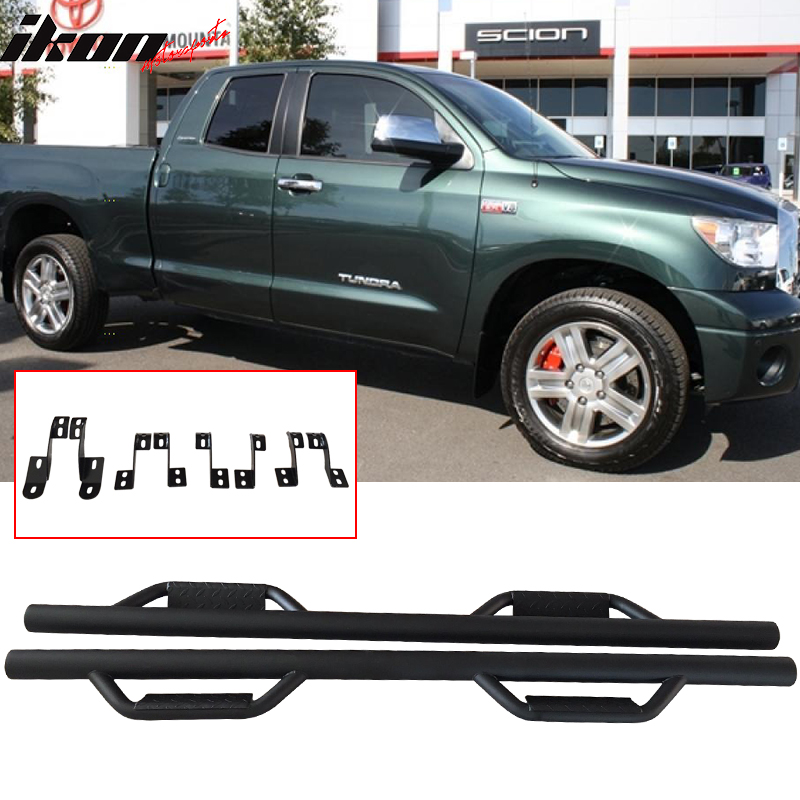 Fits 07-19 Toyota Tundra Double Cab Side Step Bar Running Boards Nerf Bar Black