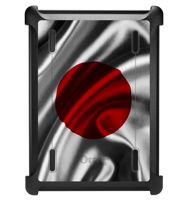 CUSTOM Black OtterBox Defender Series Case for Apple iPad Air 1 (2013 Model) - Japan Waving Flag