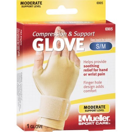 Mueller Sport Care Compression & Support Glove, Moderate Support, Size S/M - Occumitts Support Glove