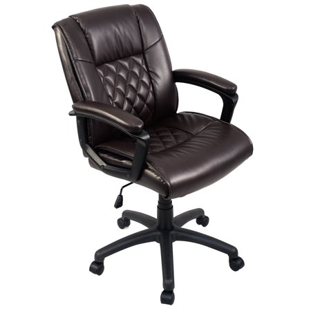 Admirable Costway Ergonomic Pu Leather Mid Back Executive Computer Desk Task Office Chair Brown Creativecarmelina Interior Chair Design Creativecarmelinacom
