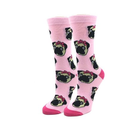 Lady Pugs One Size Fits Most Pink Pink Ladies Crew Socks