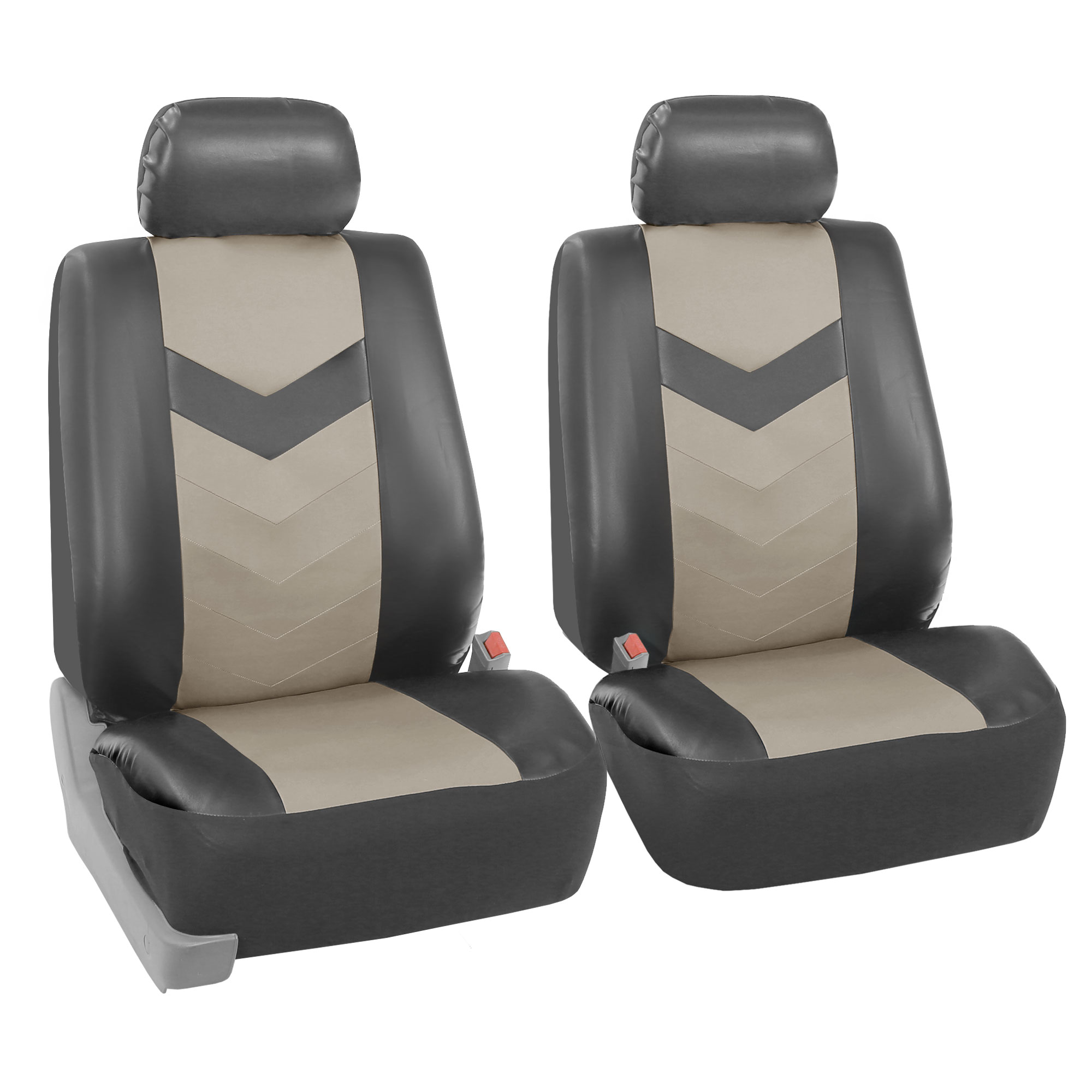 FH Group Synthetic Leather Auto Seat Covers for Sedan, SUV, Van, Truck, Two Front Buckets, 2 Tone Gray