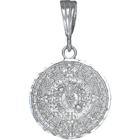 Sterling Silver Aztec Calendar Mayan Sun Charm Pendant Necklace with Diamond Cut Finish and 24 Inch Figaro Chain
