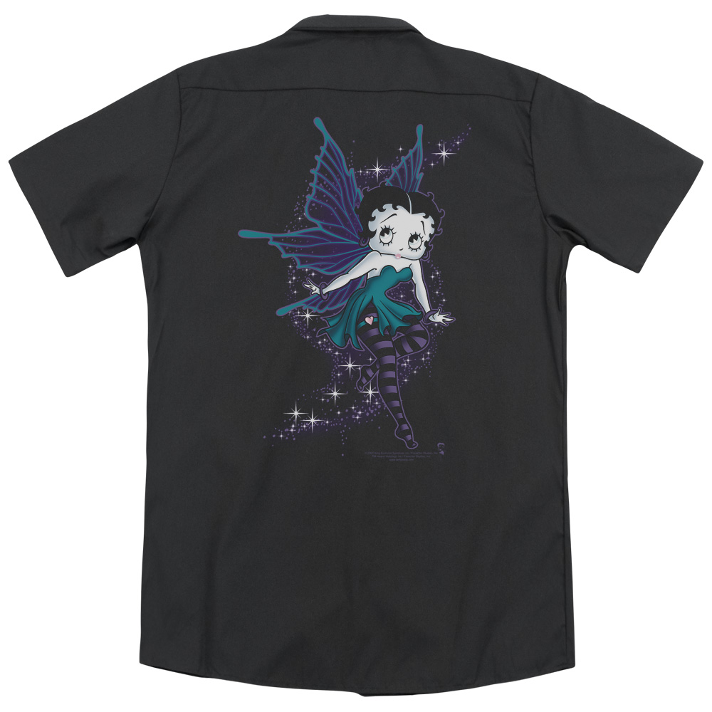 Betty Boop Sparkle Fairy (Back Print) Mens Work Shirt