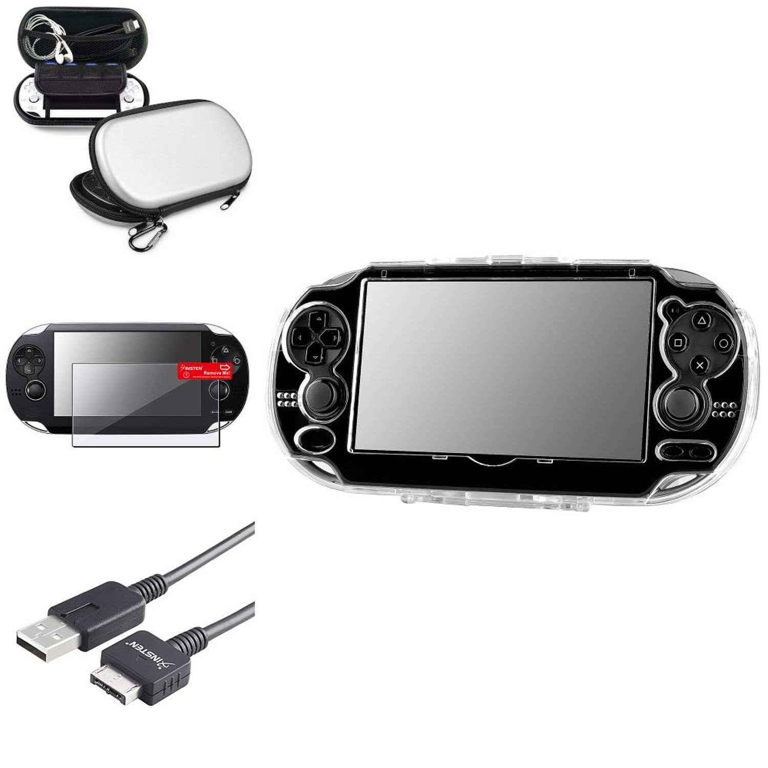 Insten Silver EVA Case Bag+Screen Protector+Crystal Case+USB Cable For Sony PS Vita PSV
