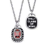 """Personalized Women's Sterling-Silver with Cushion-Cut Stone Class Pendant, 20"""""""