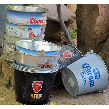 Canvas Print Beer Buckets Container Cans Cooler Beer Beverage Stretched Canvas 10 x 14