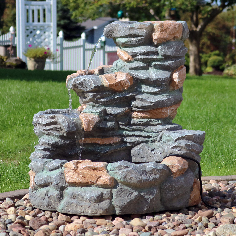 Rock Water Fountains: Sunnydaze 4-Tier Ledgestone Outdoor Waterfall Fountain, 29