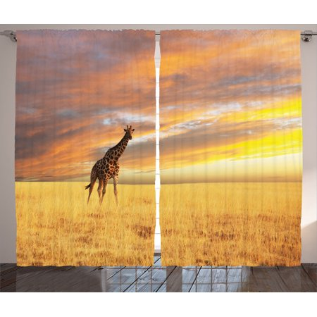 Safari Decor Curtains 2 Panels Set, Giraffe In Savannah Colorful Cloudy Sky At Sunrise Grassland Autumn View Picture, Living Room Bedroom Accessories, Gift Ideas, By Ambesonne - Safari Ideas