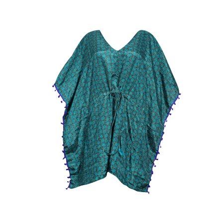 6c3ca441bd Mogul Interior - Mogul Women's Short Caftan Dress Kimono Sleeves Printed  Pom Pom Tassel Resort Wear Cover Up Tunic Kaftan S/M/L - Walmart.com