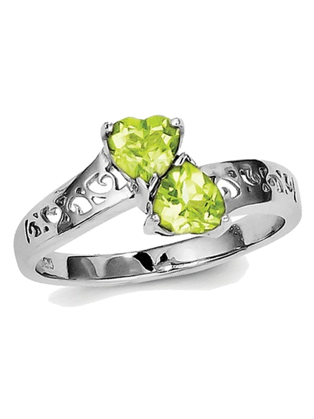 Ladies Natural Peridot 1.00 Carat (ctw) Heart Promise Ring in Sterling Silver