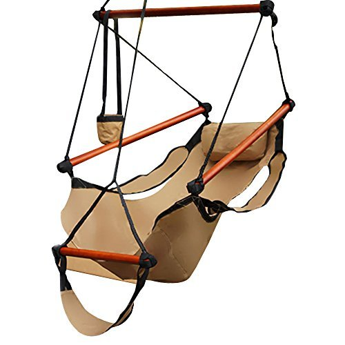 Zeny Hammock Hanging Chair Air Deluxe Outdoor Chair Solid Wood 265lb Tan