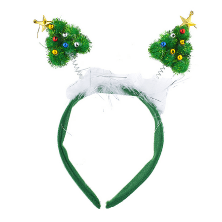 Lux Accessories Green Festive Christmas Xmas Tree Star Antenna Headband - Alien Antenna Headband