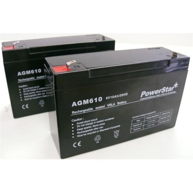 PowerStar AGM610-2Pack-04 6V 10Ah Battery UPG D5778 UB6120 F2 - 2 Pack