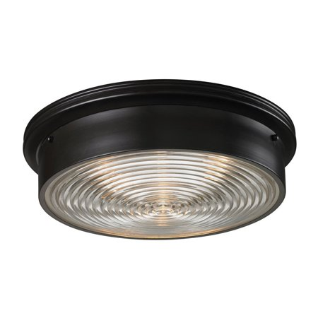 New Product ELK Lighting The Flushmounts 3 Light Flushmount In Oiled Bronze And Clear Ribbed Glass 11453/3 Sold By VaasuHomes