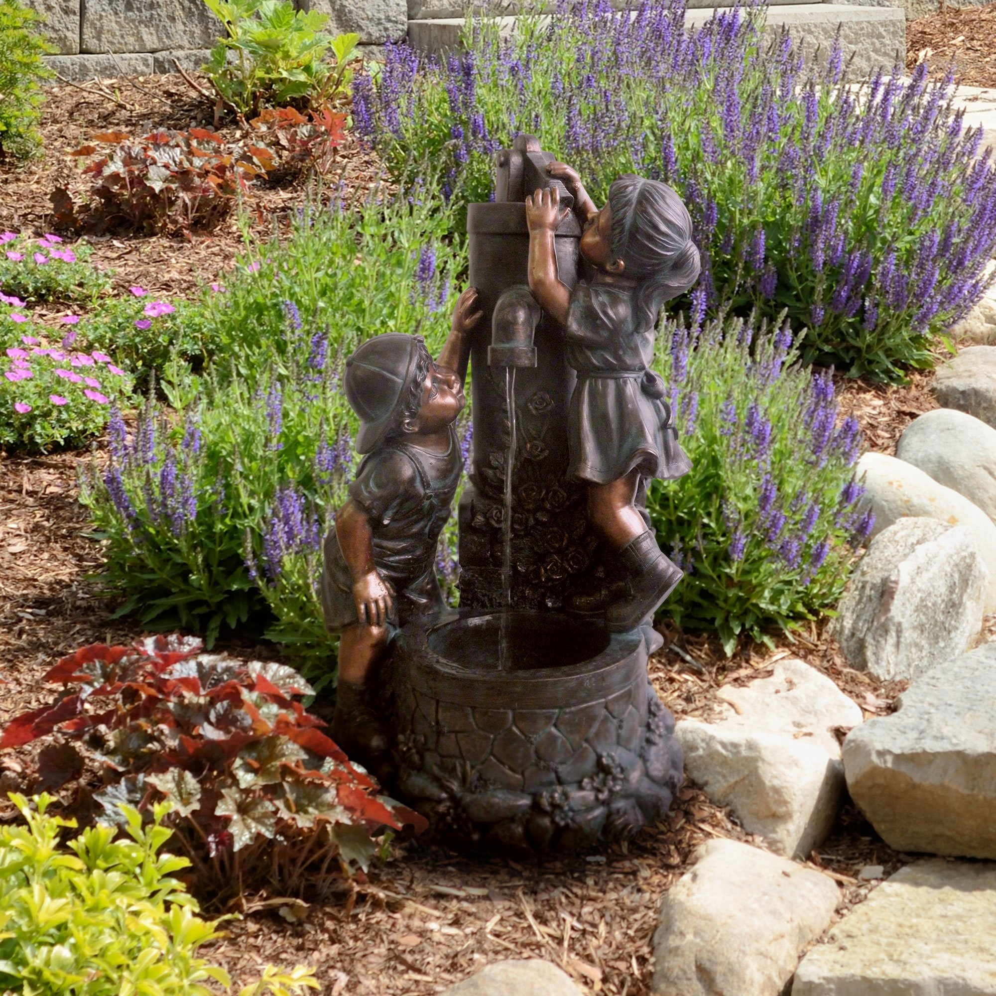Pure Garden Boy And Girl Water Outdoor Fountain   Walmart.com