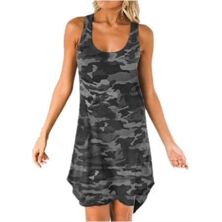 Sleeveless Camouflage Print Casual Dress Summer Plus Size Mini Dress