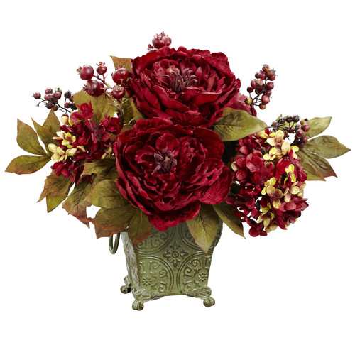 Nearly Natural Peony and Hydrangea Silk Flower Arrangement in Rustic Green Bucket