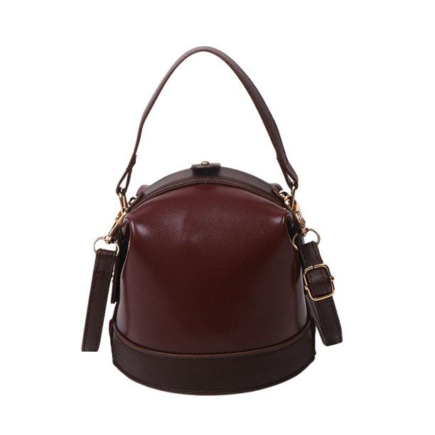 Chinatera PU Bucket Bag Women Pleated Hit Color Сумки через плечо (Коричневый)