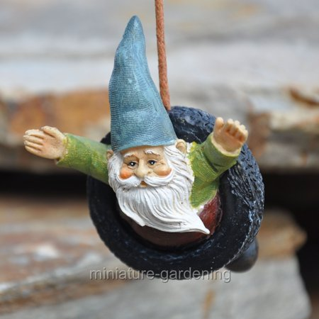 Miniature Gnome Tire Swing with Hook for Miniature Garden, Fairy Garden (Fairy Garden Supplies Cheap)