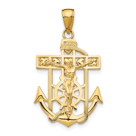 14k Yellow Gold Textured Mini Nautical Anchor Ship Wheel Mariners Crucifix Cross Religious Pendant Charm Necklace Mariner Gifts For Women For Her 14k Gold Nautical Anchor