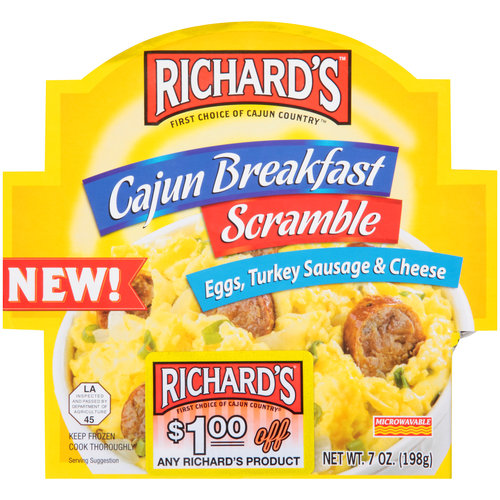 Richard's Cajun Breakfast Scramble Eggs, Turkey Sausage & Cheese, 7 oz