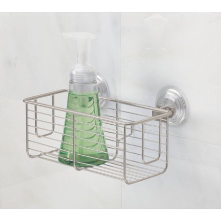 InterDesign Classico Bathroom Shower PowerLock Suction Caddy Basket for Shampoo, Conditioner and Soap, Satin