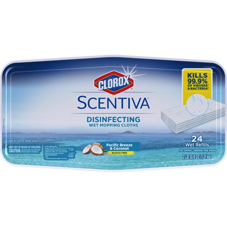 - Clorox Scentiva Disinfecting Wet Mopping Cloths, Pacific Breeze & Coconut, 24 ct