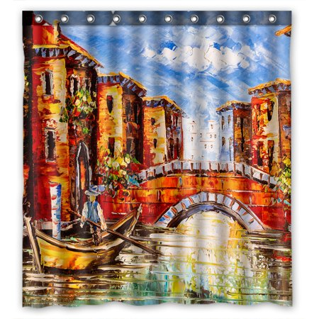 YKCG Oil Painting View of Venice Italy City Landscape Shower Curtain Waterproof Fabric Bathroom Shower Curtain 66x72 inches (Italy Shower Curtain)